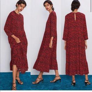 Zara Red Leopard Maxi Dress
